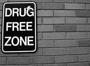 Picture of Drug Free Zone Sign on Brick